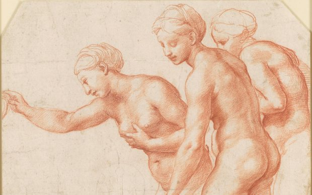 Raphael, The Three Graces, c. 1517-18. Red chalk on paper, 20.3 x 25.8 cm. Royal Collection Trust/© Her Majesty Queen Elizabeth II 2019