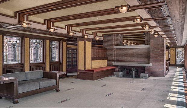 Robie House Living Room, Courtesy of Frank Lloyd Wright Trust