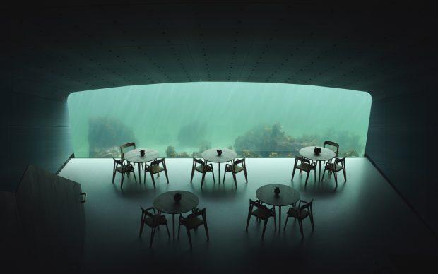 Sala sottomarina del ristorante Under, progetto di Snohetta, photo by Ivar Kvaal