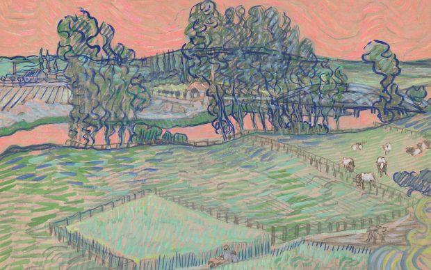 Vincent van Gogh, ricostruzione digitale colorazione cielo rosa paesaggio Tate Britain