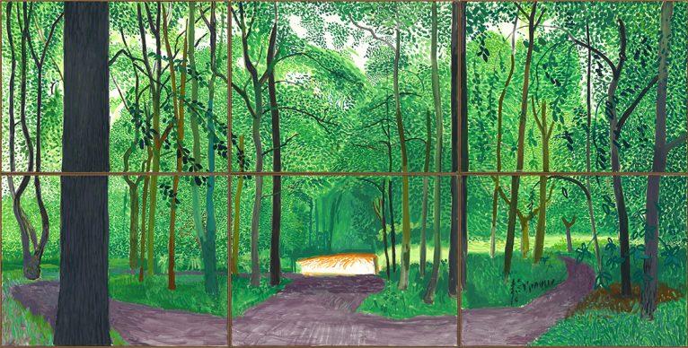 David Hockney, Woldgate Woods, 26, 27 & 30 July 2006, Oil on 6 canvases (36 x 48'' each), 72 x 144'' overall © David Hockney, Photo Credit: Richard Schmidt
