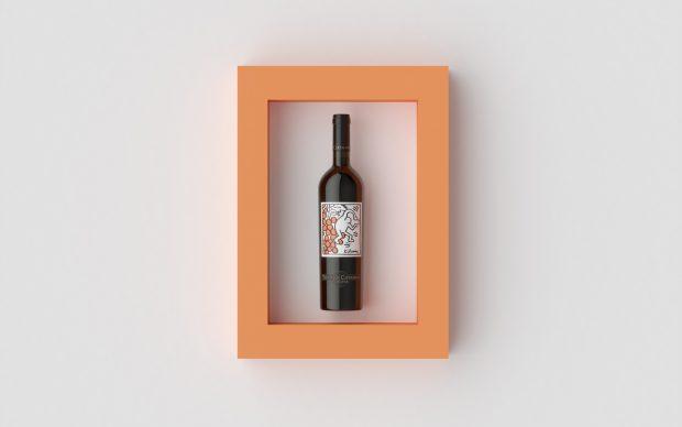 etichetta keith haring bottiglia vino rosso tenuta di ceppaiana toscana