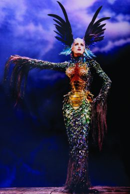 "Alan Strutt, Yasmin Le Bon, Palladium, London, 1997; Evening Standard Magazine, October 1997. Photo: © Alan Strutt. Outfit : Thierry Mugler, La Chimère collection, ""La Chimère"" gown, haute couture fall/winter 1997–1998."