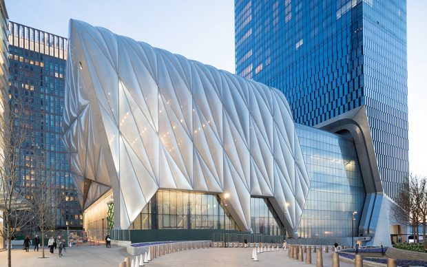 Evening View of the Shed from Hudson Yards / North Elevation, Photography by Iwan Baan, Courtesy of The Shed Project Design Credit: Diller Scofidio + Renfro, Lead Architect and Rockwell Group, Collaborating Architect
