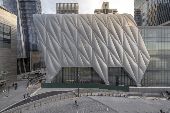 View of the Shed from Hudson Yards / North Elevation, Photography by Timothy Schenck, Courtesy of The Shed. Project Design Credit: Diller Scofidio + Renfro, Lead Architect and Rockwell Group, Collaborating Architect