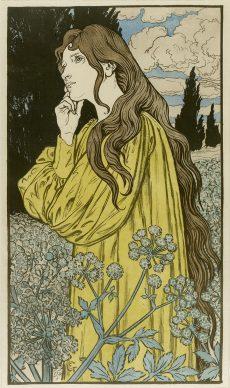 Eugène Grasset, Méditation, 1897, Stampa su seta, 78x43 cm, Private collection, London