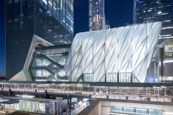 Evening View of The Shed from 30th Street, Photography by Iwan Baan, Courtesy of The Shed. Design Credit: Diller Scofidio + Renfro, Lead Architect and Rockwell Group, Collaborating Architect