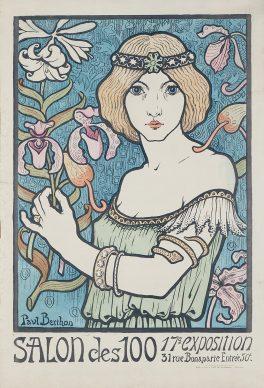 Paul Berthon, Affiche pour la 17ᵉ exposition du Salon des Cent, 1897. Litografia a colori, 58,5x40 cm, Private collection, London