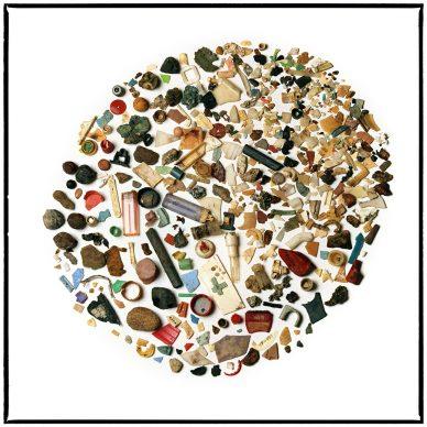 Pulcino di albatros, contenuto dello stomaco: accendini, spruzzatori a pompa, gusci di noci, cartuccia per fucile da caccia, mollette rotte, centinaia di pezzi di plastica. FOTO: Susan Middleton