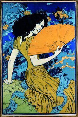 Eugène Grasset, L'Éventail, 1897, Litografia a colori, 126x82 cm, Gretha Arwas Collection, Londra (UK) © Arwas Archive