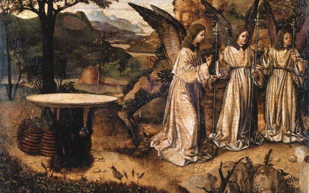 Antonello da Messina, Abramo e gli angeli, Tempera e olio su tavola, Reggio Calabria, Pinacoteca Civica