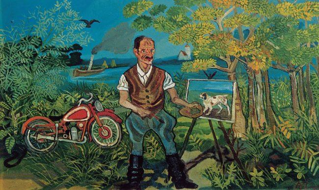 Antonio Ligabue, Autoritratto con moto, cavalletto e paesaggio (Self-portrait with motorbike, easel and landscape), Undated (1953–1954), Oil on fibreboard 63,9 x 104cm, Gustalla (Reggio Emilia), private collection ©