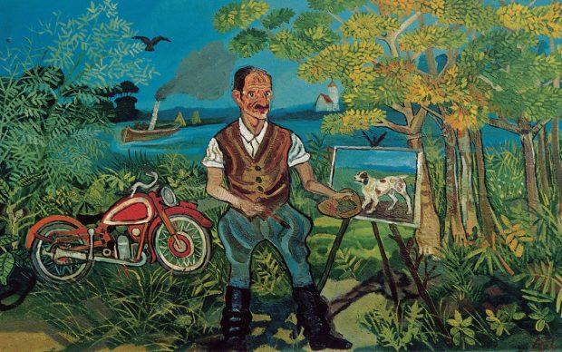 Antonio Ligabue Autoritratto con moto, cavalletto e paesaggio (Self-portrait with motorbike, easel and landscape) Undated (1953–1954) Oil on fibreboard 63,9 x 104cm Gustalla (Reggio Emilia), private collection ©