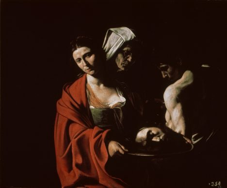 Caravaggio, Salomé con la testa di Battista, circa 1607, Olio su tela, 116 x 140 cm, Madrid, Palacio Real Colecciones Reales, Patrimonio Nacional