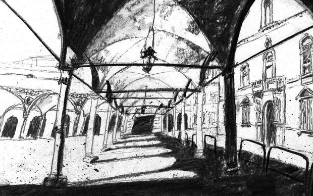 Daisy Zuo, Bologna a testa in giù, illustrazione Museo Davia Bargellini