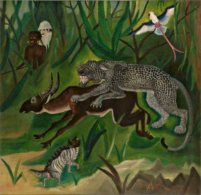 Antonio Ligabue, Caccia grossa (The big hunt), 1929, Oil on plywood, 66 x 64cm, Private collection ©