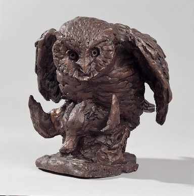 Antonio Ligabue, Gufo con preda (Owl with prey), Undated (1957–1958), Bronze, 23 x 17 x 24cm, Private collection ©