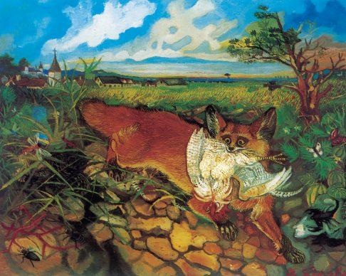 Antonio Ligabue, Volpa in fuga (Fleeing fox), Undated (1948), Oil on fibreboard, 60 x 74cm, Private collection ©