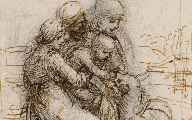 Leonardo da Vinci, Sant'Anna, la Madonna e il Bambino che gioca con l'agnello, inchiostro metallo-tannico, pietra nera, punta metallica su carta, Venezia, Gallerie dell'Accademia