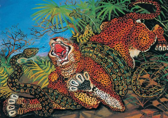 Antonio Ligabue, Leopardo con serpente (Leopard with snake), Undated (1955-1956), Oil on fibreboard, 69,5x98cm, Collezioni d'Arte Fondazione Cariparma ©