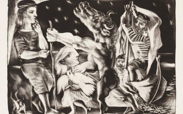 Pablo Picasso (1881-1973) Minotaure aveugle guidé par une Fillette dans la Nuit (Blind Minotaur guided by a Girl in the Night), 1934, Print 1939 Sheet 97 from the series Suite Vollard Mezzotint on Montval laid paper, 33,6 x 44,1 cm (Sheet), 24,7 x 34,7 cm (Plate) Städel Museum, Frankfurt am Main, Graphische Sammlung Photo: Städel Museum © VG Bild-Kunst, Bonn 2019