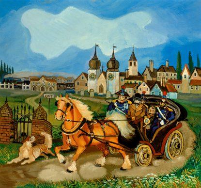 Antonio Ligabue, Diligenza con cavalli (Horse stagecoach), Undated (1959–1960), Oil on fibreboard, 75 x 83cm, Courtesy Galleria Centro Steccata, Parma ©