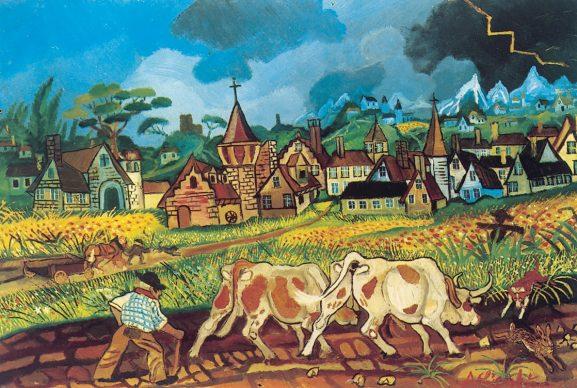Antonio Ligabue (1899-1965), Ritorno dal lavoro con buoi (Return from Field with Oxen), Undated (1955-56), Oil on fibreboard, 58x87cm, Private collection Courtesy Galleria Centro Steccata, Parma ©