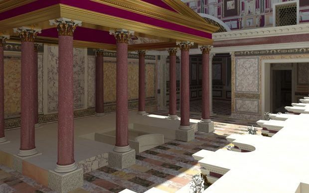 Il padiglione centrale visto dalla fontana-ninfeo. Ricostruzione virtuale. Credits: Parco archeologico del Colosseo, foto Progetto Katatexilux