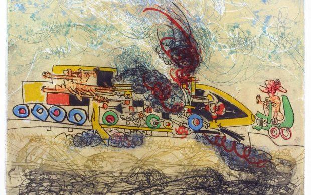 Roberto Matta Les Oh! Tomobiles, 1972, Colored aquatint etching, Museum der Moderne Salzburg Collection © Museum der Moderne Salzburg / Bildrecht, Vienna, 2019