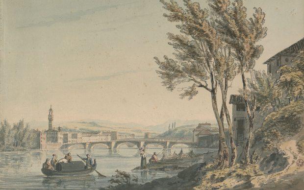 John Thomas Serres (Londra 1759-1825) Veduta dell'Arno a Firenze verso Ponte alla Carraia, 1790 penna e inchiostro, acquerello su carta