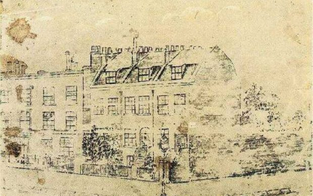 Vincent van Gogh, disegno della sua casa in Hackford Road a Londra, 1873-74, fonte Wikipedia
