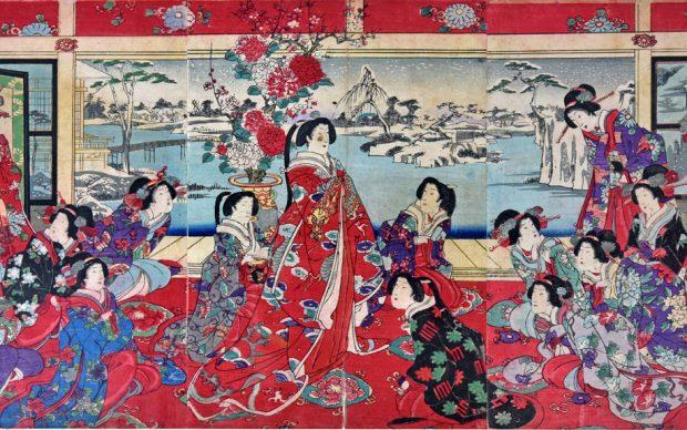 Yoshu Chinkanobu, Passatempi di beltà femminili in un giorno nevoso, firmata Il pennello di Yoshu Chikanobu, 1838-1912
