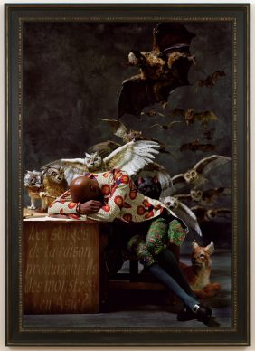Yinka Shonibare, CBE, The Sleep of Reason Produces Monsters (Asia), 2008, Chromogenic print, Image: 182.9 × 125.7 cm (72 × 49 1/2 in.), Courtesy of Santa Barbara Museum of Art, Museum Purchase, the Austin Fund in Honor of Wright S. Ludington © Yinka Shonibare CBE. Courtesy James Cohan, New York EX.2019.4.12