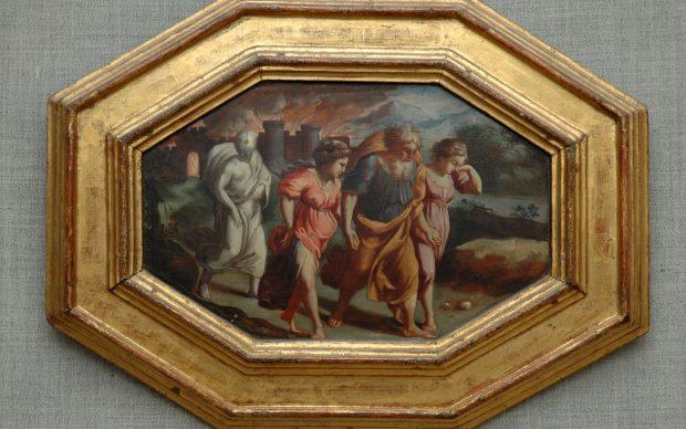 da Raffaello, inizio del XVII secolo, Fuga da Sodoma, tavola, cm. 23 x 27, metà del XVIsecolo, Urbino, Museo Albani