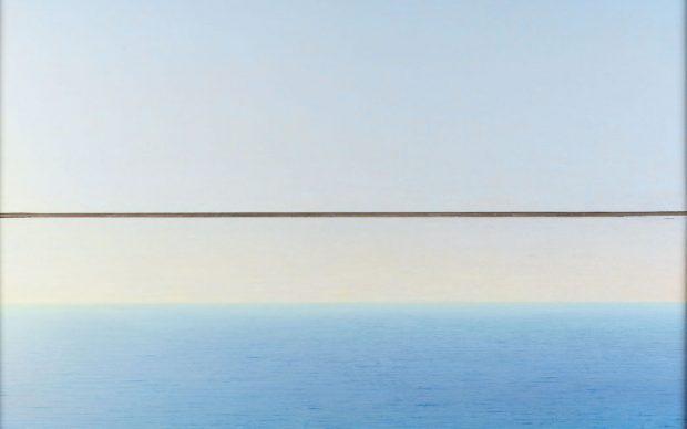 Piero Guccione, Mare a Punta Corvo, 1995-2000, olio su tela, 86 x 113 cm, Collezione privata