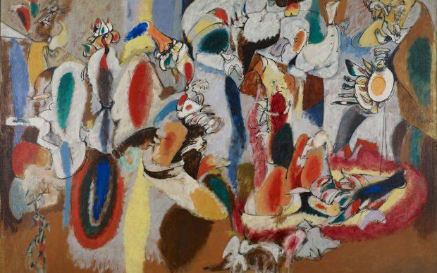 Arshile Gorky: Liver Is the Cock's Comb / Il fegato è la cresta del gallo 1944 Oil on canvas / Olio su tela 73 ¼ x 98 ⅜ in. (186.1 x 249.9 cm) Collection Albright-Knox Art Gallery, Buffalo, New York Gift of / Dono di Seymour H. Knox, Jr., 1956, K1956:4 Image courtesy Albright-Knox Art Gallery