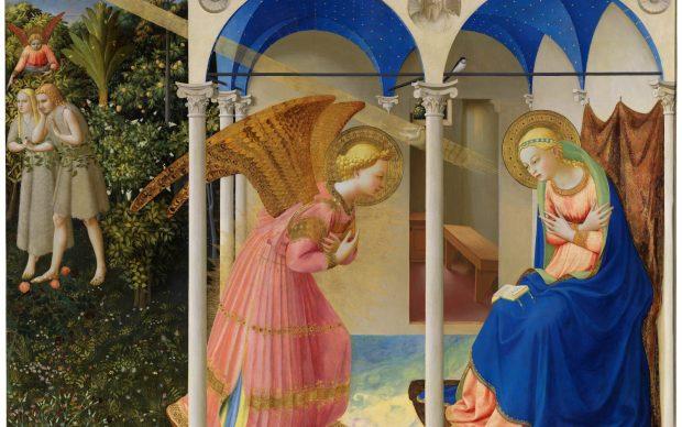 Beato Angelico, Annunciazione e Cacciata di Adamo ed Eva dall'Eden, 1425-26, dopo il restauro, Museo Nacional del Prado, Madrid