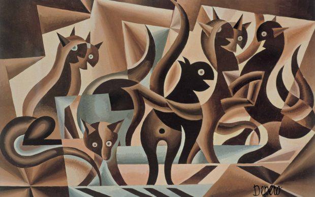 Fortunato Depero, Elasticità di gatti, 1939