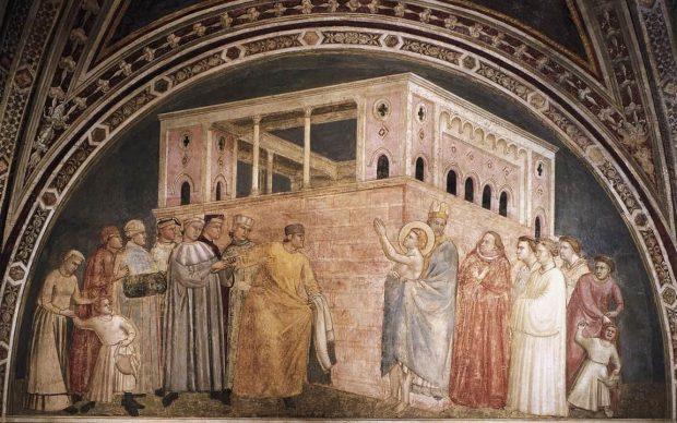 Giotto, Rinuncia dei beni, ciclo Episodi della vita di San Francesco e figure di santi francescani, 1325 ca, Basilica di Santa Croce, Firenze