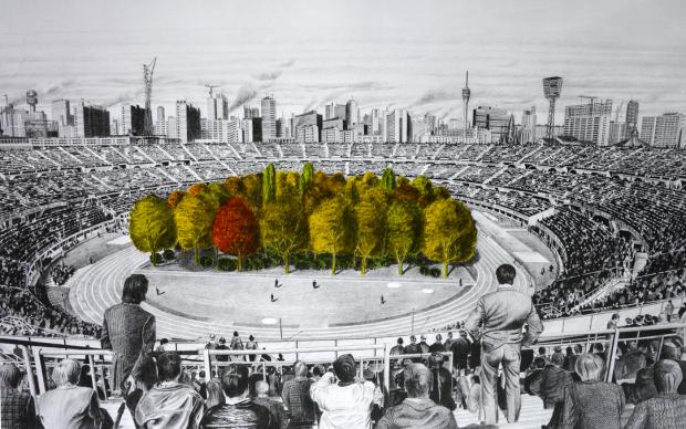Max Peintner, Die ungebrochene Anziehungskraft der Natur, Bleistiftzeichnung 1970-71, Handkoloriert von Klaus Littmann 2018, Unikat in Serie