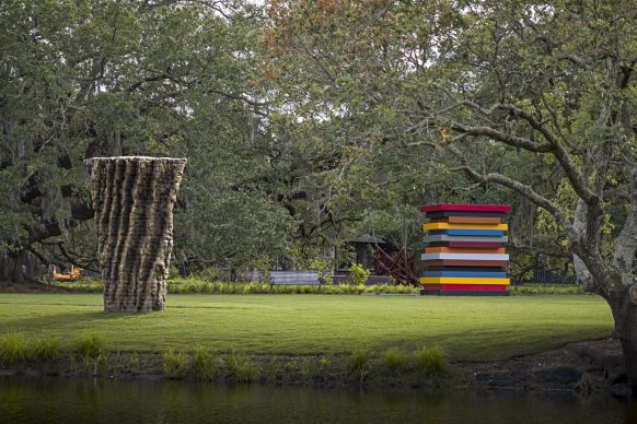 The Sydney and Walda Besthoff Sculpture Garden Expansion at the New Orleans Museum of Art. Far Left: Georg Herold, Liver of Love, 2013. Middle Left: Ursula von Rydingsvard, Dumna, 2015. Middle Right: Bernar Venet, 11 Acute Unequal Angles, 2016. Far Right: Sean Scully, Colored Stacked Frames ,2017. Photo Credit: Richard Sexton