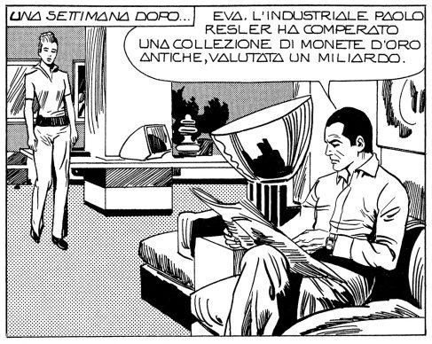 Angela e Luciana Giussani, Sergio Zaniboni e Saverio Micheloni, Diabolik (detail), 1974 © Astorina srl