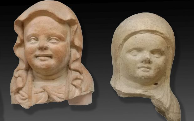 Teste di statue votive in terracotta di bambini in fasce da Vulci, deposito votivo di Porta Nord IV-III sec. a.C.