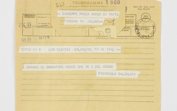 Pier Paolo Calzolari, Telegramma no. 349, 26 aprile 1976, photo by Alessandro Zambianchi, Courtesy Panza Collection