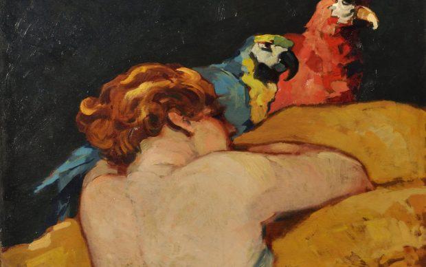 Renato Natali, Donna con pappagalli, 1920 ca., olio su tavola, cm 50 x 70,5