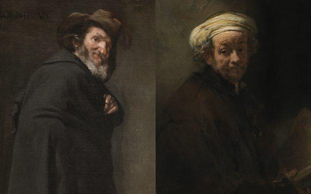Da sinistra: Diego Velázquez, Menippus, c. 1638, Madrid, Museo Nacional del Prado. Rembrandt Van Rijn, Self Portrait as the Apostle Paul, 1661, Amsterdam, Rijksmuseum. De Bruijn-van der Leeuw Bequest, Muri, Switzerland
