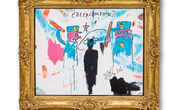 ean-Michel Basquiat The Death of Michael Stewart, 1983 Acrylic and marker on sheet rock, 34 x 40 inches, framed (86.4 x 101.6 cm) Collection of Nina Clemente, New York © Estate of Jean-Michel Basquiat. Licensed by Artestar, New York Photo: Allison Chipak © Solomon R. Guggenheim Foundation, 2018