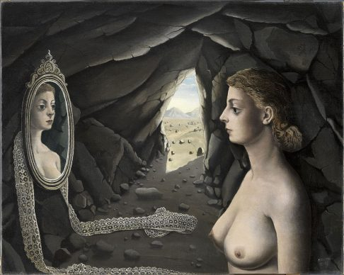 Woman in Mirror, Paul Delvaux (1897–1994), 1936. Oil on canvas, 71 x 91.5 cm, Museo Nacional Thyssen-Bornemisza, Madrid, Inv.-Nr. 520 (1972.9) © Estate of Paul Delvaux / 2019, ProLitteris, Zurich