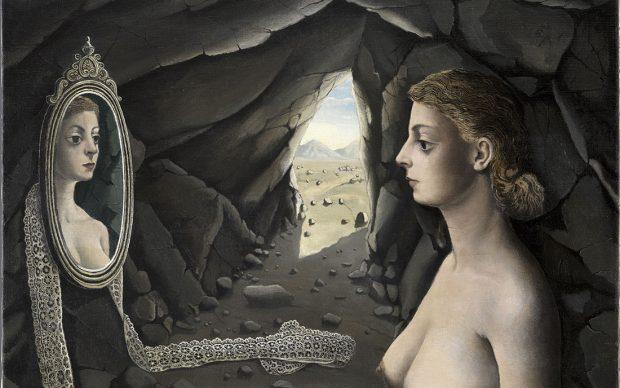Woman in Mirror. Paul Delvaux (1897–1994), 1936 Oil on canvas, 71 x 91.5 cm Museo Nacional Thyssen-Bornemisza, Madrid, Inv.-Nr. 520 (1972.9) © Estate of Paul Delvaux / 2019, ProLitteris, Zurich