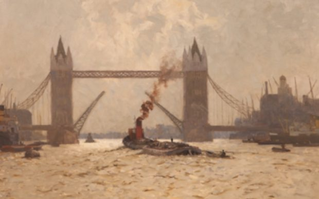 Norman Wilkinson, Towing Past The City, c. 1962 © Guildhall Art Gallery, City of London